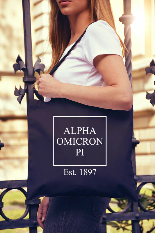 Alpha Omicron Pi Box Tote Bag