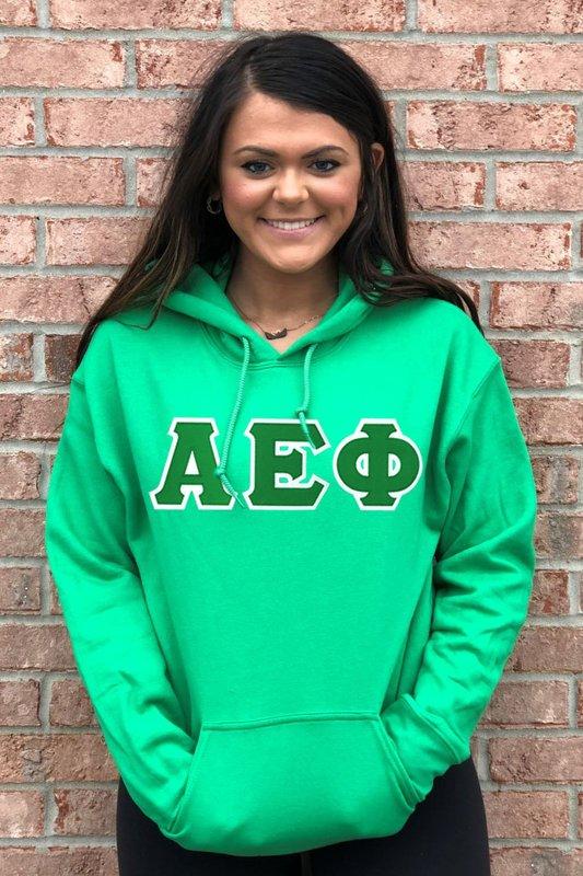 DISCOUNT Alpha Epsilon Phi Lettered Hooded Sweatshirt