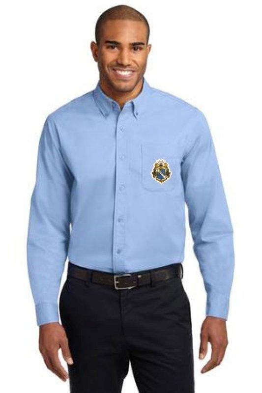 DISCOUNT-Alpha Phi Omega Crest - Shield Long Sleeve Oxford