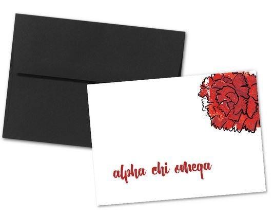 Alpha Chi Omega Floral Script Notecards(6)