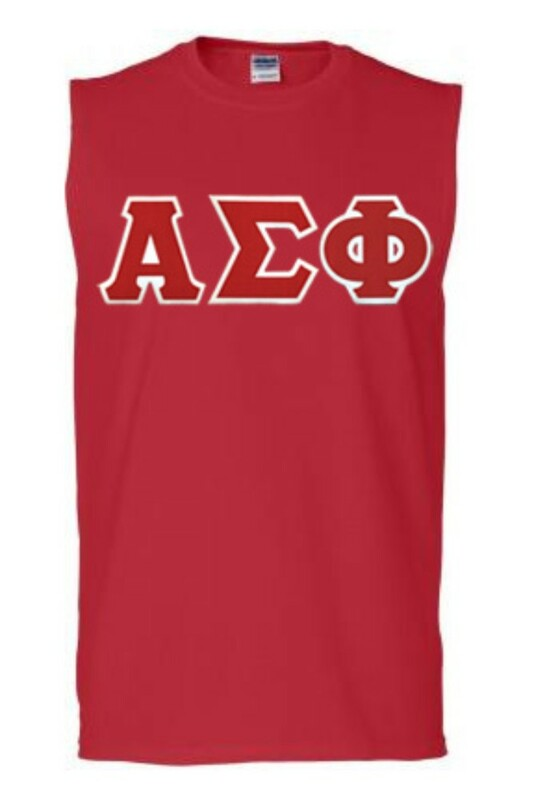 DISCOUNT- Alpha Sigma Phi Lettered Sleeveless Tee