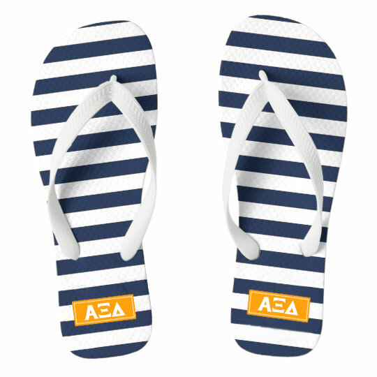 Alpha Xi Delta Striped Flip Flops