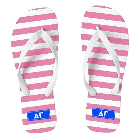 Delta Gamma Striped Flip Flops