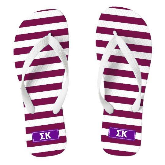 Sigma Kappa Striped Flip Flops