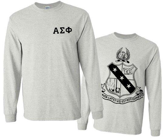 Alpha Sigma Phi World Famous Crest - Shield Long Sleeve T-Shirt- $19.95!