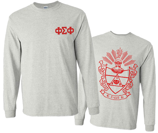 Phi Sigma Phi World Famous Crest - Shield Long Sleeve T-shirts- $19.95!