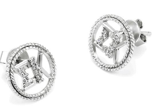 Sigma Kappa Sterling Silver Circular Earrings set with Lab-Created Diamonds