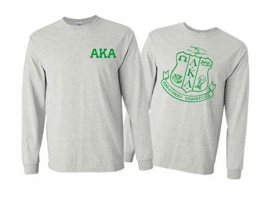 Alpha Kappa Alpha World Famous Crest - Shield Long Sleeve T-Shirt - $19.95!