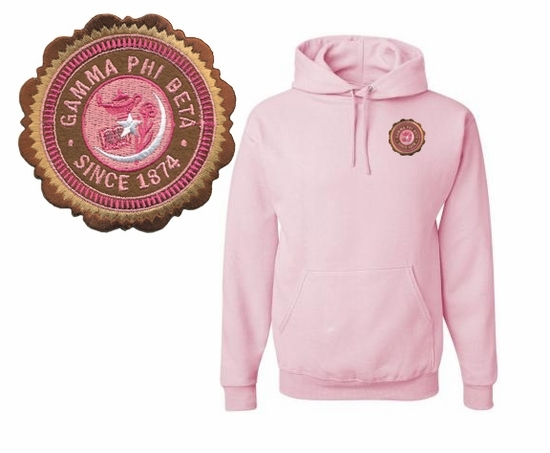 DISCOUNT-Sorority Patch Seal Hooded Sweatshirt