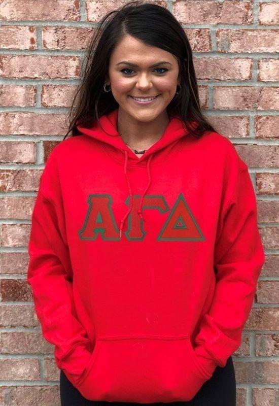 Alpha Gamma Delta Custom Twill Hooded Sweatshirt