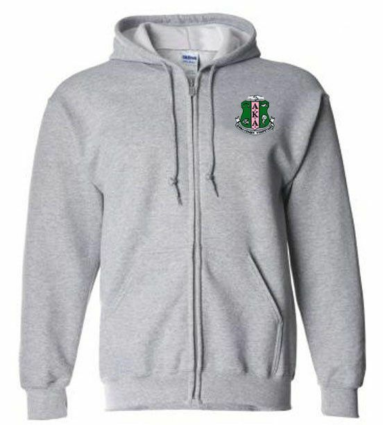 DISCOUNT-Alpha Kappa Alpha Emblem Full Zippered Hoodie