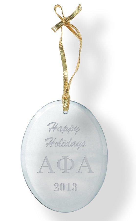 Alpha Phi Alpha Holiday Glass Oval Ornaments
