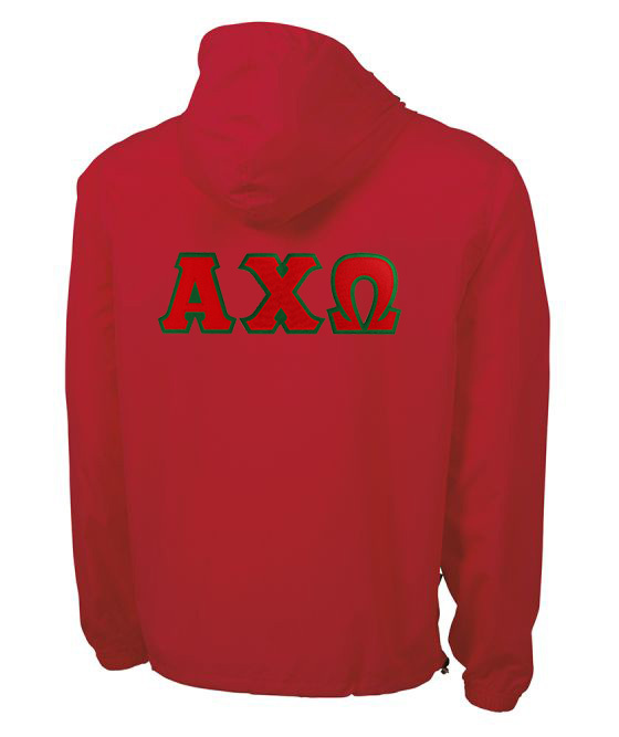 Alpha Chi Omega Tackle Twill Lettered Pack N Go Pullover