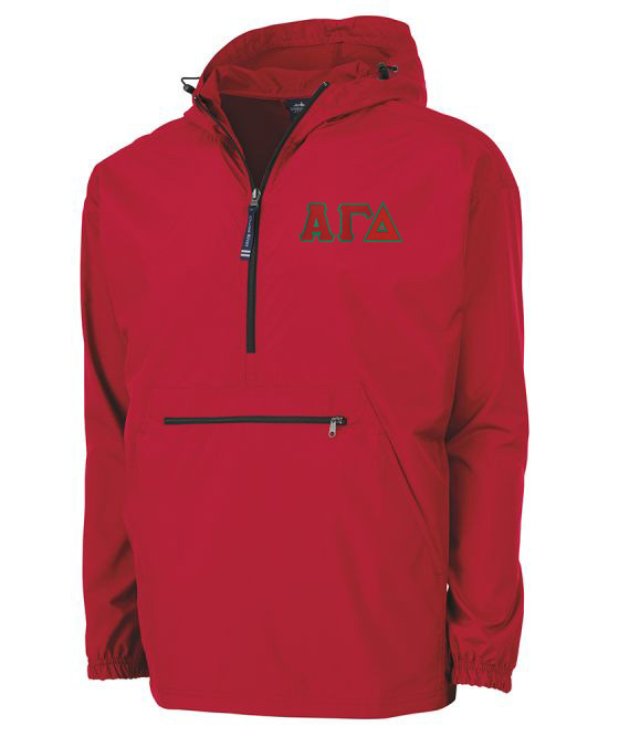 Alpha Gamma Delta Tackle Twill Lettered Pack N Go Pullover
