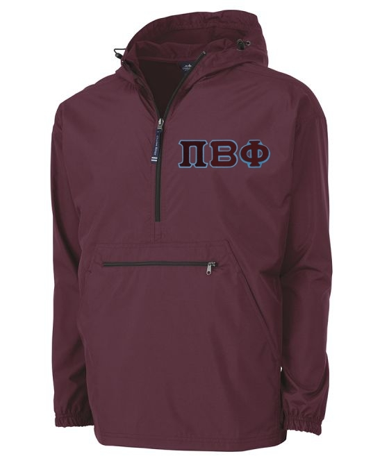 Greek Tackle Twill Lettered Pack N Go Pullover
