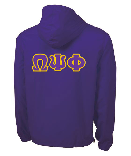 Omega Psi Phi Tackle Twill Lettered Pack N Go Pullover