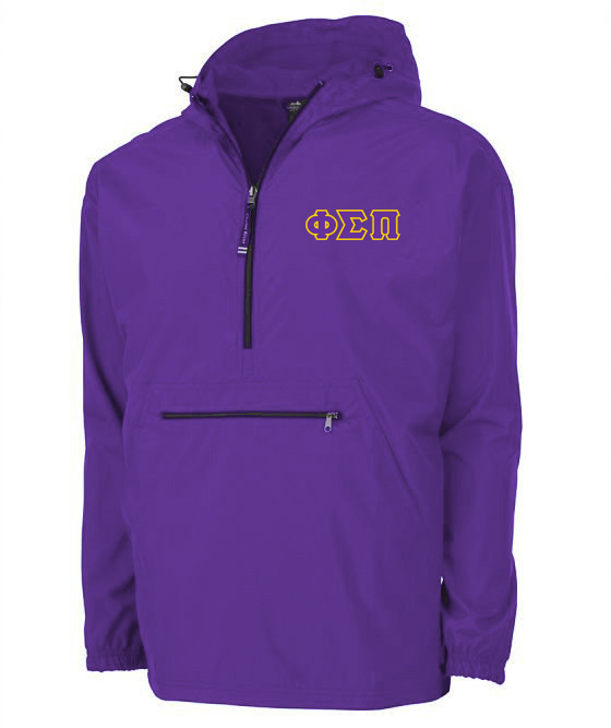 Phi Sigma Pi Tackle Twill Lettered Pack N Go Pullover