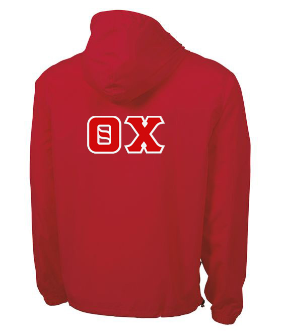 Theta Chi Tackle Twill Lettered Pack N Go Pullover