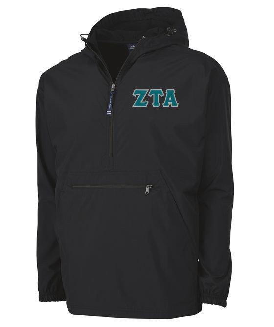 Zeta Tau Alpha Tackle Twill Lettered Pack N Go Pullover