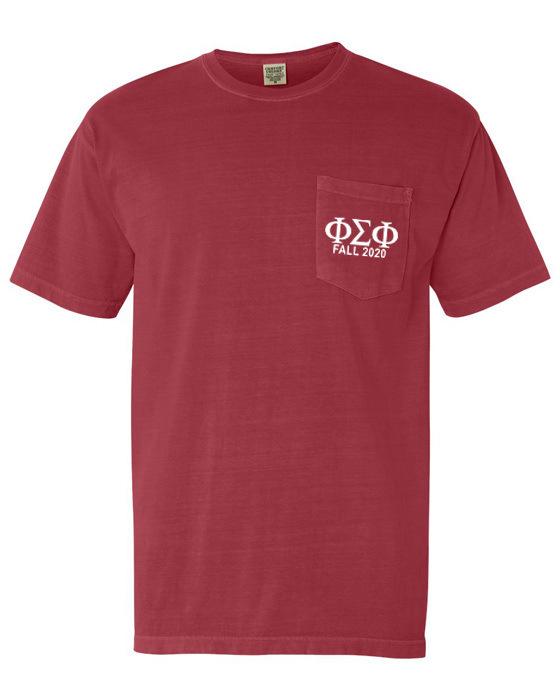 Phi Sigma Phi Greek Letter Comfort Colors Pocket Tee