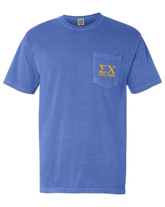 Sigma Chi Greek Letter Comfort Colors Pocket Tee