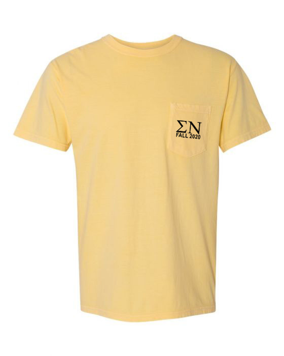 Sigma Nu Greek Letter Comfort Colors Pocket Tee