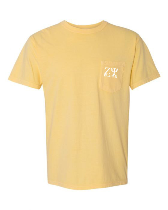 Zeta Psi Greek Letter Comfort Colors Pocket Tee