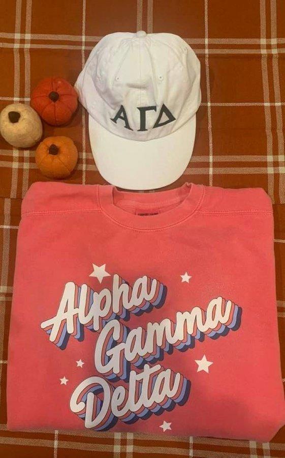 The New Super Savings - Alpha Gamma Delta Comfort Colors Crewneck and Baseball Hat Set - WATERMELON AND WHITE