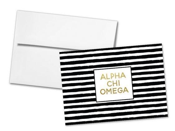 Alpha Chi Omega Striped Notecards(6)