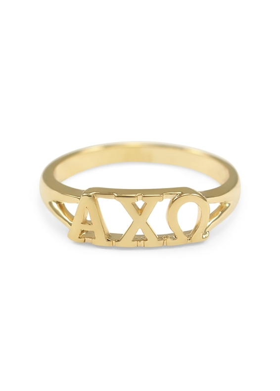 Alpha Chi Omega Gold Plated Letter Ring
