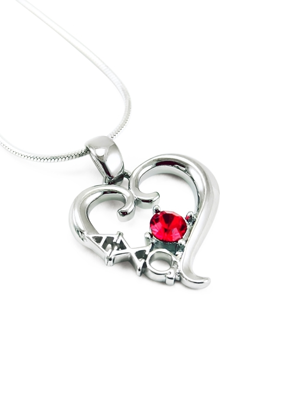 Alpha Chi Omega Sterling Silver Heart Pendant with Swarovski™ Red Crystal