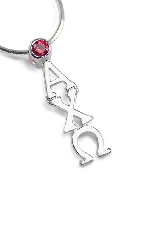 Alpha Chi Omega Sterling Silver Lavaliere Pendant with Swarovski™ Red Crystal