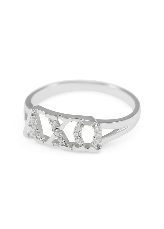 Alpha Chi Omega Sterling Silver Ring set with Lab-Created Diamonds