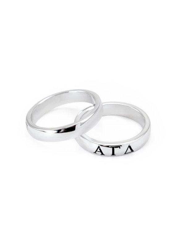 Alpha Gamma Delta Sterling Silver Skinny Band Ring