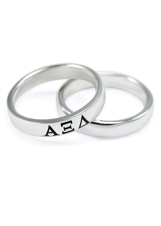 Alpha Xi Delta Sterling Silver Skinny Band Ring