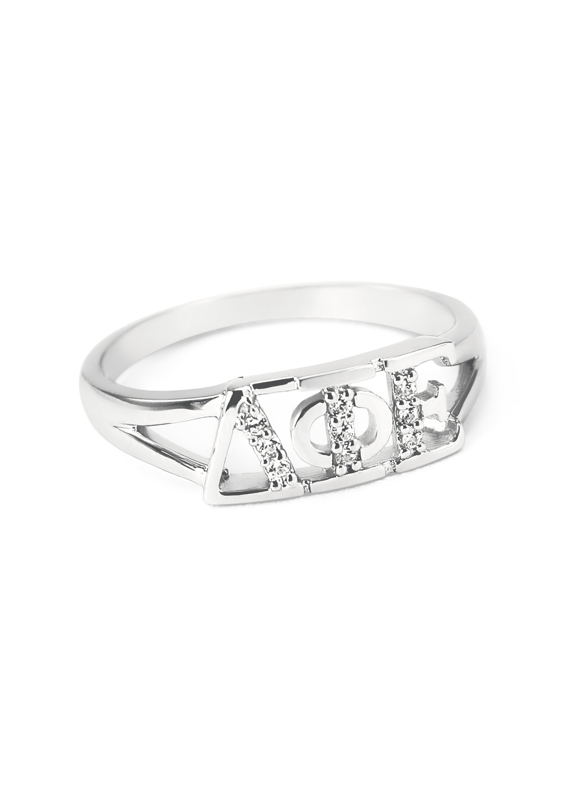 Delta Phi Epsilon Sterling Silver Ring set with Lab-Created Diamonds