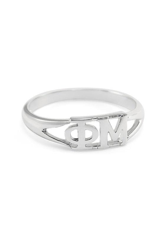 Phi Mu Sterling Silver Letter Ring