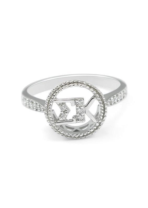 Sigma Kappa Sterling Silver Circular Ring set with Lab-Created Diamonds
