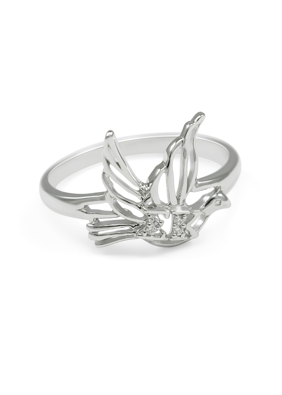 Sigma Kappa Sterling Silver Dove Ring set with Lab-created Diamonds