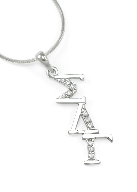 Sigma Lambda Gamma Sterling Silver Diagonal Lavaliere set with Lab-Created Diamonds