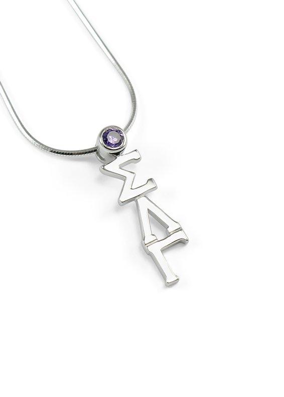 Sigma Lambda Gamma Sterling Silver Lavaliere Pendant with Swarovski™ Purple Crystal