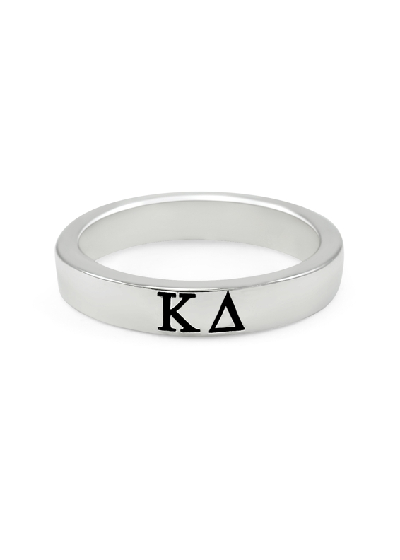 Sterling silver thin-band ring with black enameled Greek letters