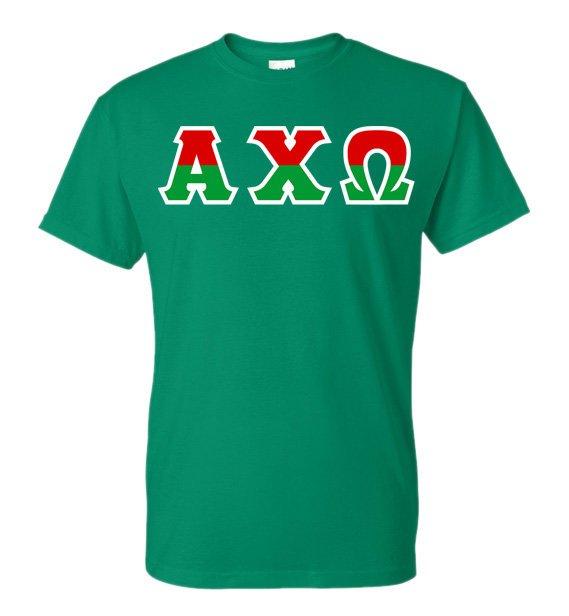 Alpha Chi Omega Two Tone Greek Lettered T-Shirt