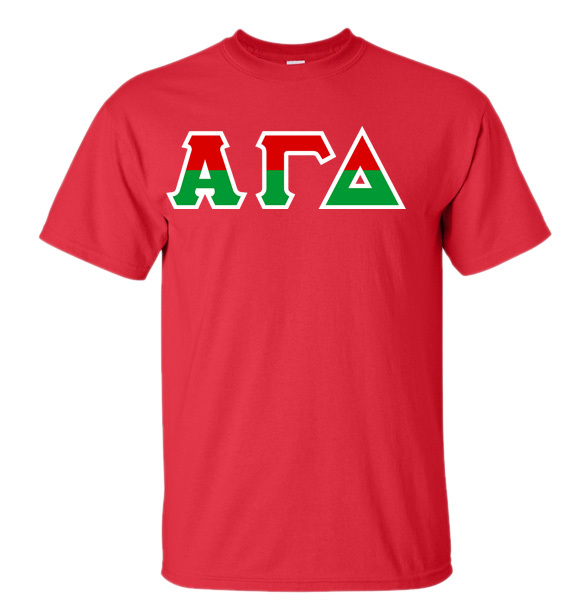 Alpha Gamma Delta Two Tone Greek Lettered T-Shirt