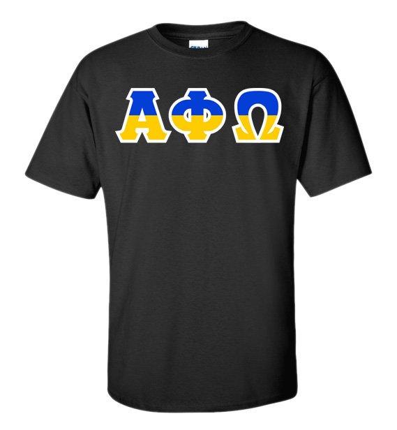 Alpha Phi Omega Two Tone Greek Lettered T-Shirt