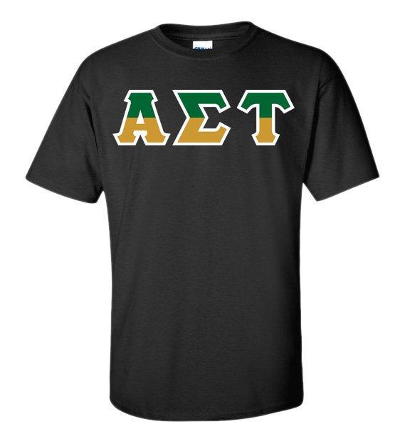 Alpha Sigma Tau Two Tone Greek Lettered T-Shirt