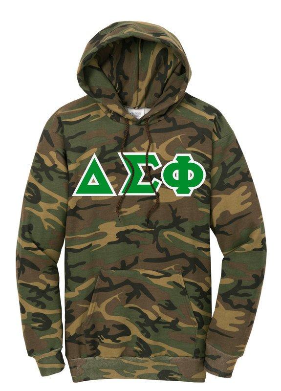 DISCOUNT-Delta Sigma Phi Camo Pullover Hooded Sweatshirt