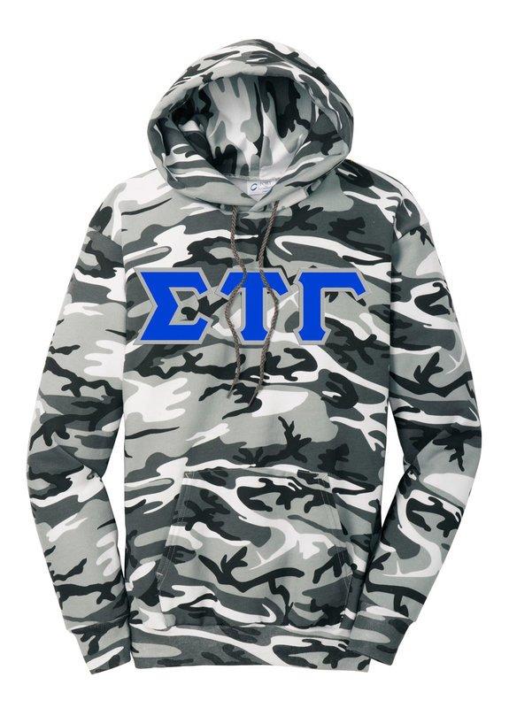 DISCOUNT-Sigma Tau Gamma Camo Pullover Hooded Sweatshirt