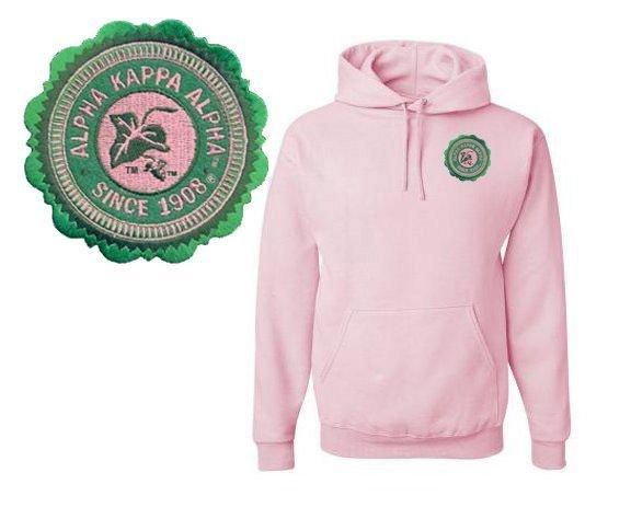 DISCOUNT-Alpha Kappa Alpha Patch Seal Hooded Sweatshirt
