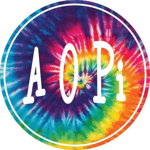 Alpha Omicron Pi Tie-Dye Circle Sticker